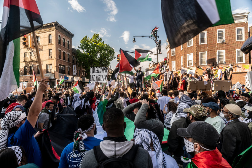 Pro-Palestinian demonstrators marched in Brooklyn's Bay Ridge last Saturday over Israeli airstrikes in Gaza that have reportedly killed more than 212 people there. The latest conflict between Israel and Palestinians is said to have broken out after an Israeli police raid on the al-Aqsa Mosque last week.