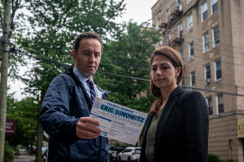 Dan Padernacht and Abigail Martin, both candidates seeking the Democratic nomination for the local city council seat, said they were surprised — and appalled — to see Councilman Eric Dinowitz use taxpayer money to send out what they say looks a lot like a political mailer. Such correspondence is technically illegal under city election law, but lawmakers have gutted that provision over the year, essentially allowing Dinowitz free reign to use his office this way.