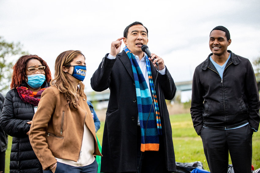 With city council candidate Marjorie Velazquez and U.S. Rep. Ritchie Torres by his side, Andrew Yang makes yet another stop in the Bronx as part of his push to become New York City's next mayor.