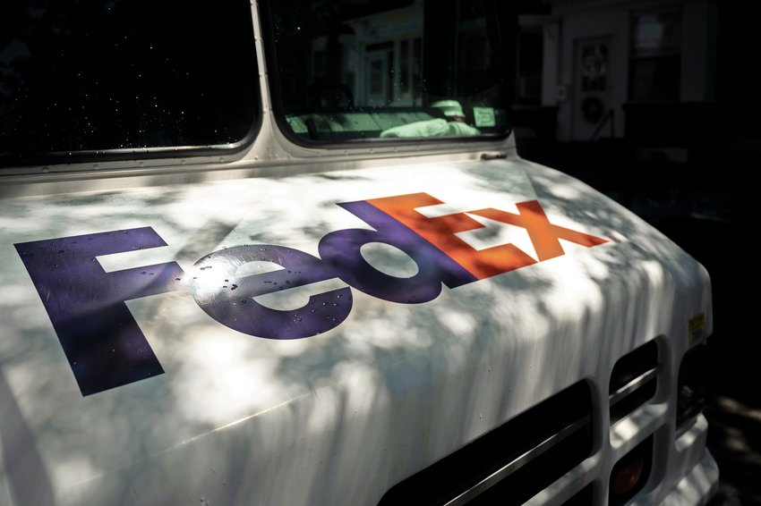 A FedEx out for delivery in Kingsbridge.