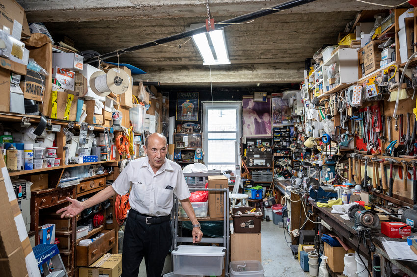 Felix Lam has spent the past 50 years as superintendent of 2465 Palisade Ave., in Spuyten Duyvil. He has his own workshop in the basement where he keeps his tools.