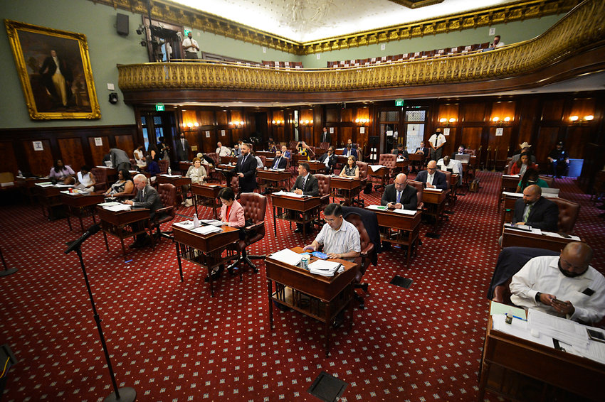 The city council passed a $99 billion budget late last month, the biggest in the city's history. Councilman Eric Dinowitz joined his colleagues in the council chamber for the body's first in-person vote since the coronavirus pandemic forced all proceedings online last year.