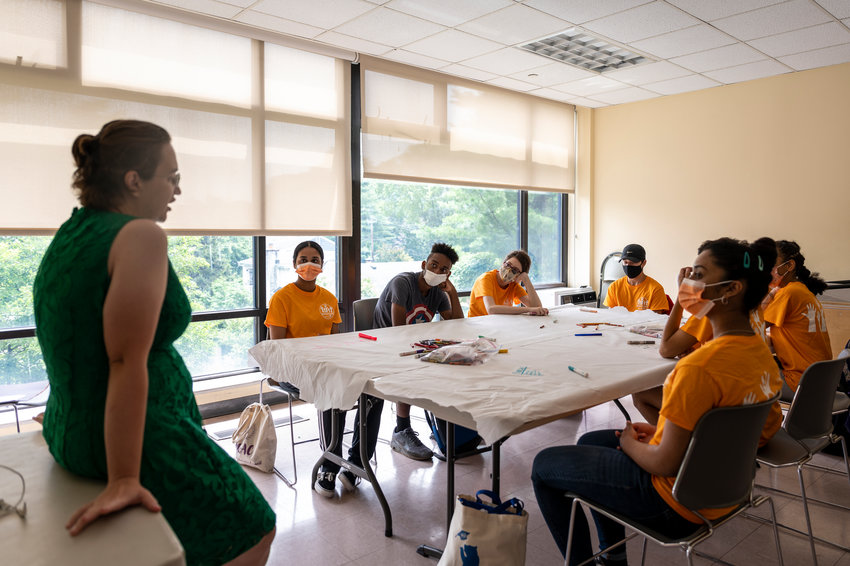 The Riverdale Y launched a new internship for younger teenagers focusing on solving community problems. One of the leaders, Alexandra Nyashina, helps guide the interns on their major summer project.
