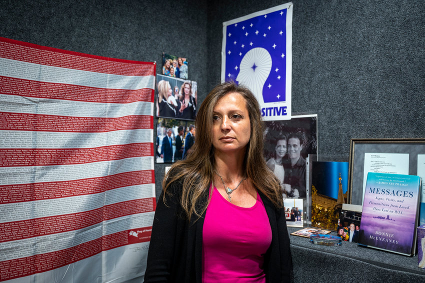 In her 9/11 'healing center' on the Upper East Side, Monica Iken-Murphy records her podcast 'Once Upon A Time' — which aims to show how one can turn grief from a tragedy like Sept. 11 into something positive. And this is exactly what Monica did herself. After losing husband Michael in the collapse of the south tower, Monica devoted her life to getting the 9/11 Memorial & Museum built.