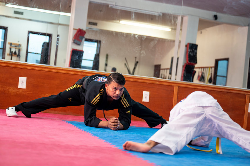 Raj Rajput leads a class at Warriors Taekwondo at Inwood, one of two locations for the dojo. It's another space at 5904 Riverdale Ave., that has created problems for Rajput as his landlord claims he's fallen behind on rent after being forced to shut down during the coronavirus pandemic.