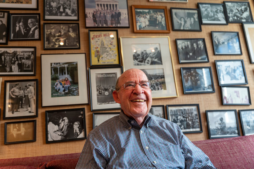 Former New York state attorney general Robert Abrams surrounds himself with many pictures of his life and career in his study. His memoir, 'The Luckiest Guy in the World,' shares Abrams' long career in politics, focusing on his time as state attorney general. Abrams says he changed the nature of the office from simply defending the state government to instead advocating for people's rights.