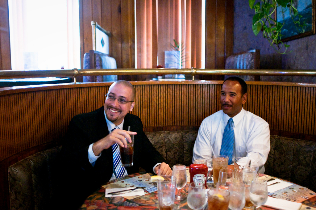 Bronx Borough President Ruben Diaz Jr., right, and State Senate candidate Gustavo Rivera sat down for lunch at the Land and Sea Restaurant in Kingsbridge on Monday afternoon. While Mr. Diaz would not officially endorse Mr. Rivera, he expressed that he would not be endorsing the incumbent, State Senator Pedro Espada Jr.