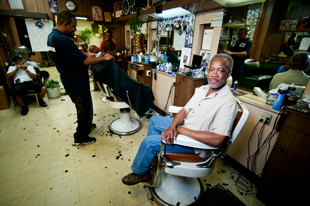 Rosey in his barber chair.