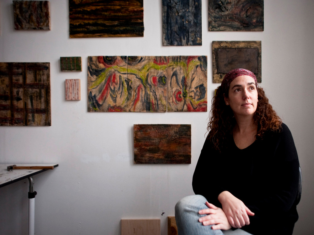Artist Deborah Yasinsky in her studio at the YoHo arts space in Yonkers.