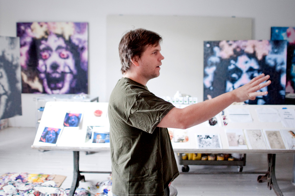 Artist Angus Schlitz in his studio at the YoHo arts space in Yonkers.