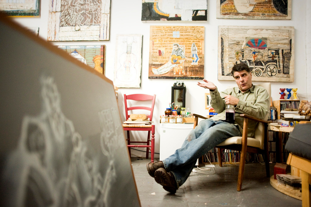 Artist George Gutierrez in his studio at the YoHo arts space in Yonkers.