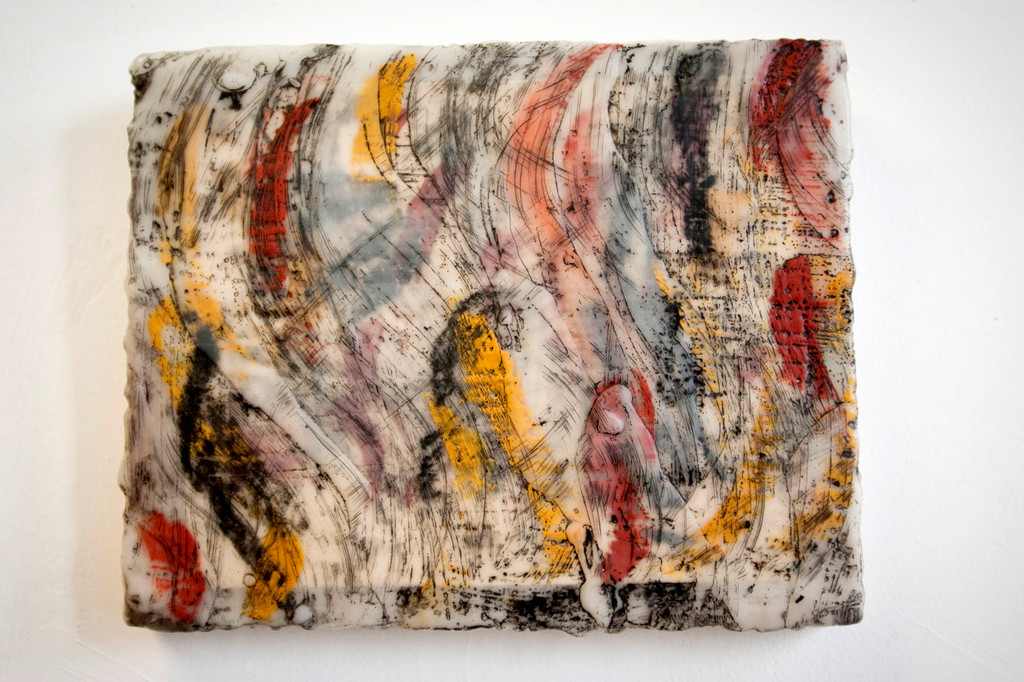 An encaustic painting by artist Deborah Yasinsky's.