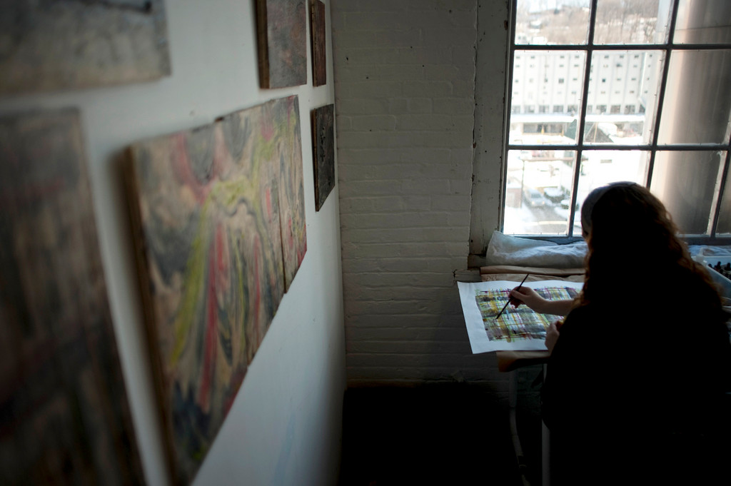 YoHo artist and Riverdale Resident Deborah Yasinsky works in her Yonkers Studio on Nepperhan Ave. on Jan 13.  Deborah is one of two Riverdale artists featured in the Blue Door Gallery's third annual juried members-only exhibition.