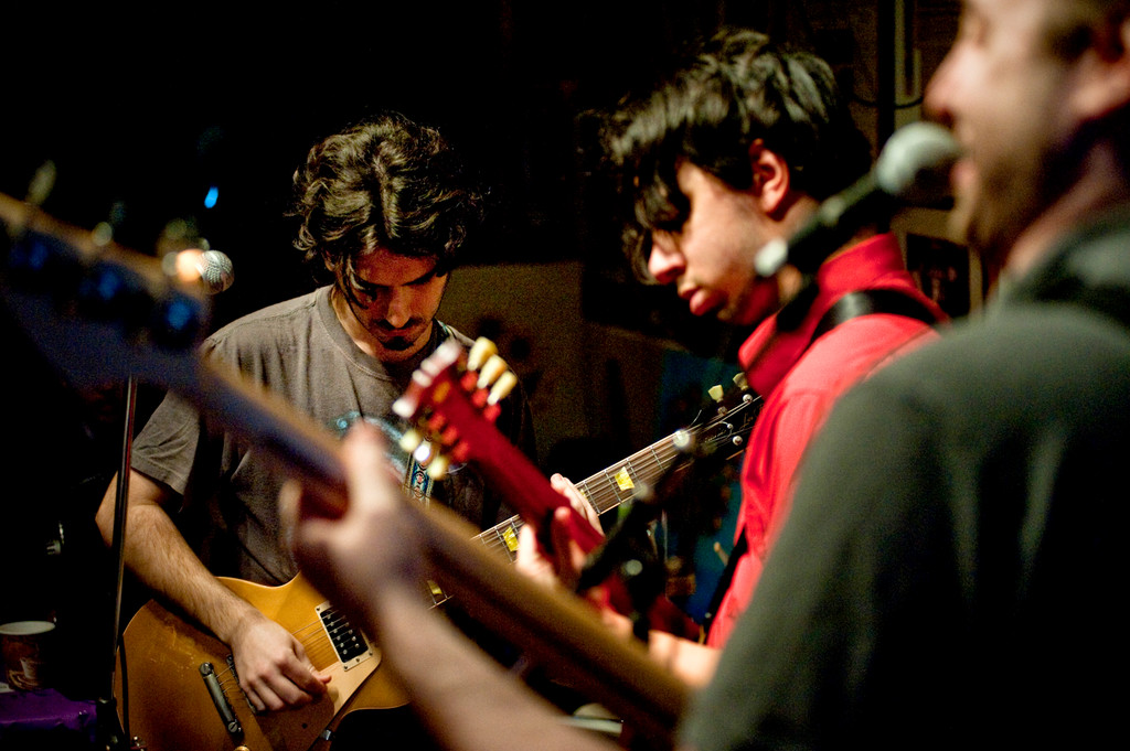 The band Genetic Control's Charlie Schiller, left, Danny Mejia, center, and David Solomon perform.