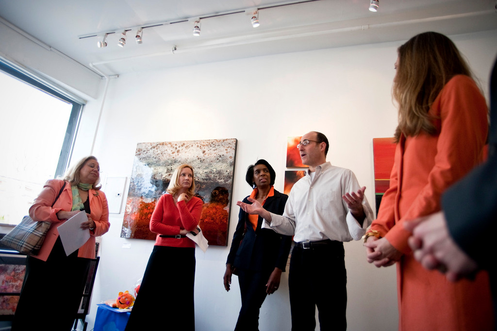 North Riverdale comunity leaders, including KRVC's Tracy Shelton (second from left) and Maria Khury of Community Board 8 (far left) got together for the opening of a new exhibit, Orange!, at the Elisa Contemporary Art