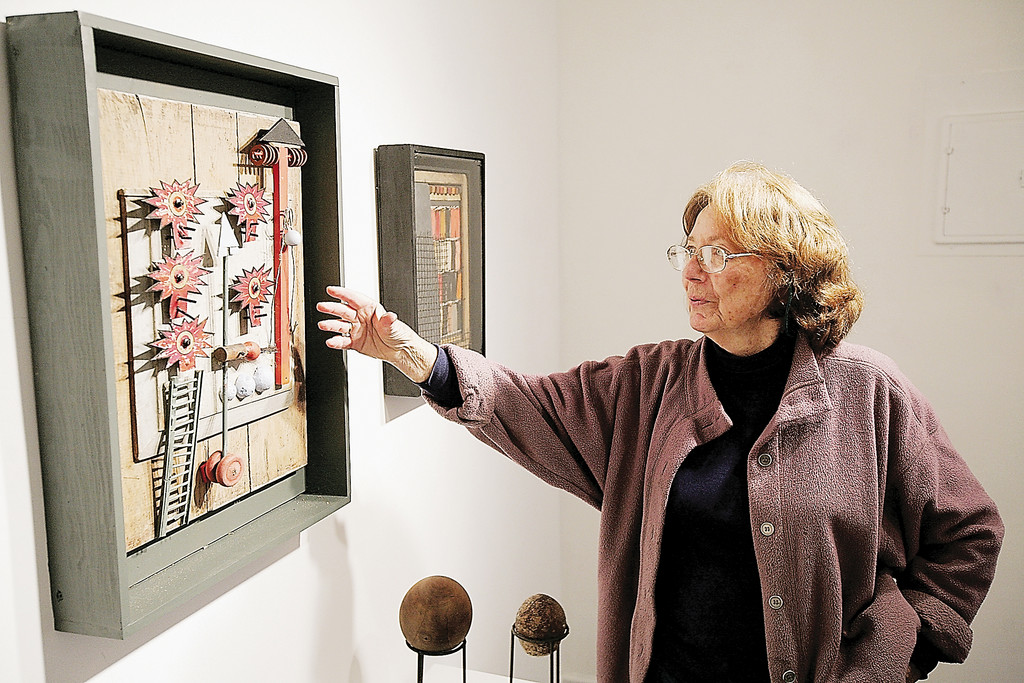 "Artist Lanny Lasky discusses her mixed media piece ""Circus"" at the Upstream Gallery in Dobbs Ferry in 2007."