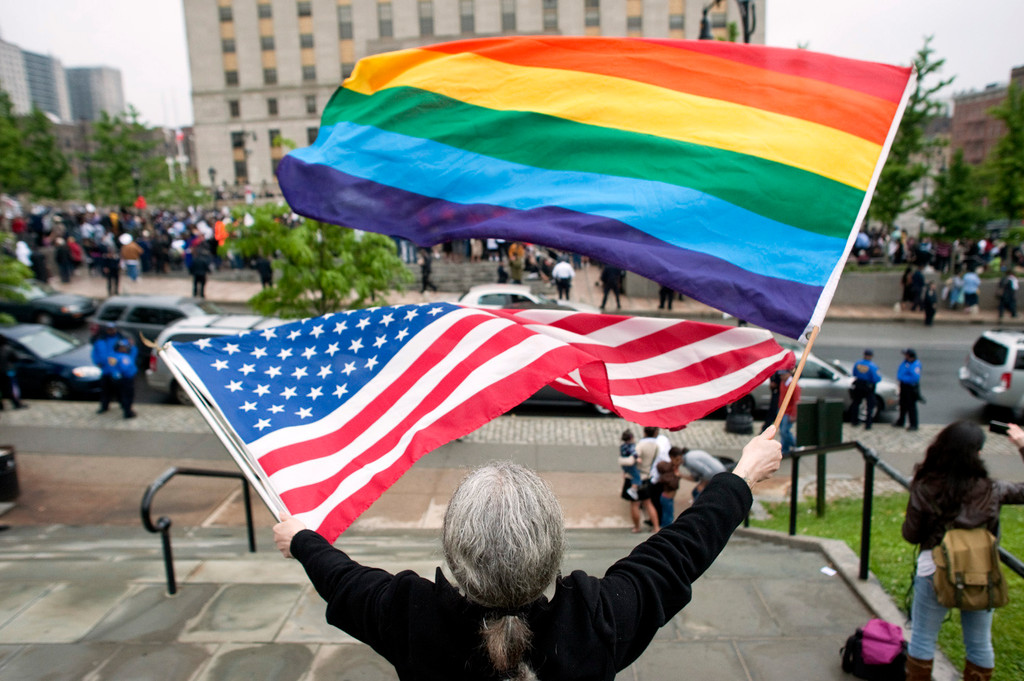 Counter-protesters rally in opposition to an anti-gay marriage rally hosted by state Sen. Ruben Diaz on the steps of the Bronx Courthouse on Sunday.