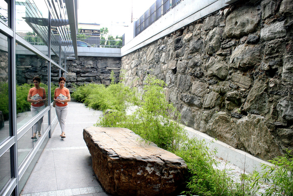 The new Kingsbridge Public Library features a garden where visitors can read and lounge outdoors.