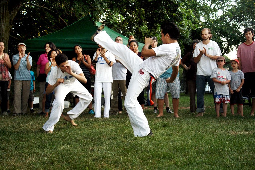 Capoeira dancers show off their moves at a Barefoot Dancing event at Van Cortlandt Park.