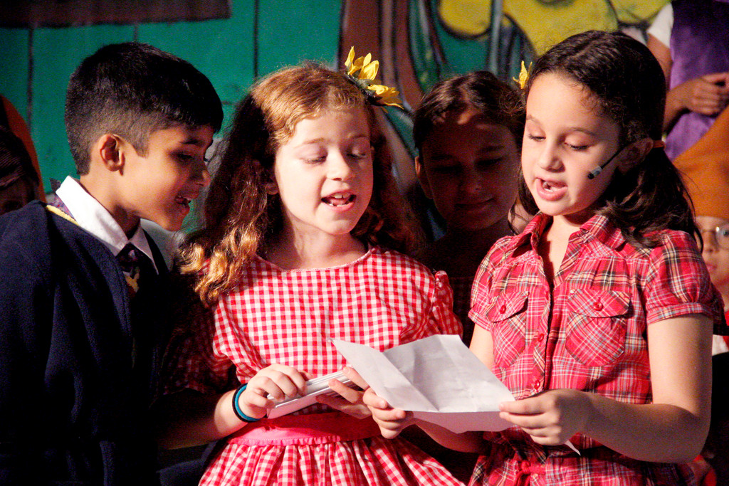 Riverdale Rising Stars Summer Camp Broadway On the Hudson presents 'A Year With Frog and Toad Kids' with, from left to right,  Shiv Pai as Frog, Olivia Santo as Bird and Samantha Trombone as Toad.