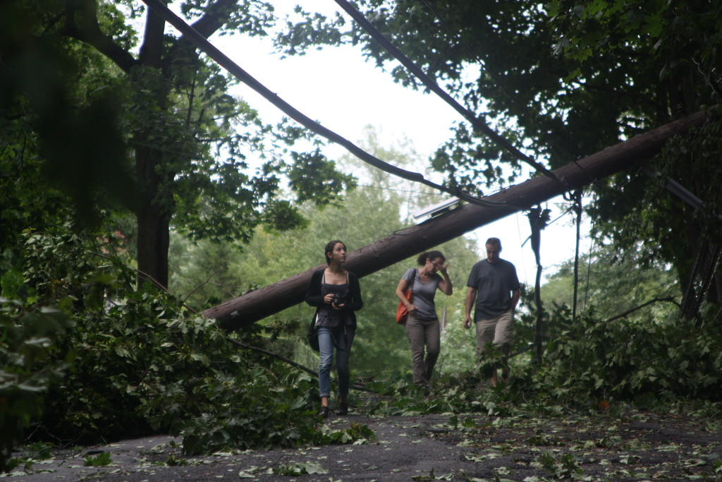 A few Riverdalians survey the damage on West 231st Street on Sunday afternoon.