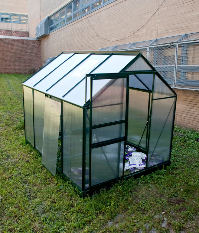 A greenhouse, donated by the New York Botanical Garden, at PS 244.