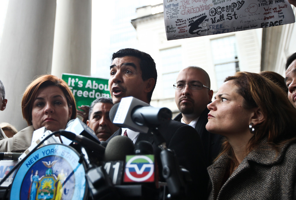 Councilman Ydanis Rodriguez speaks on Wednesday after being detained for 17 hours following a raid on Occupy Wall Street protesters in Zuccotti Park.