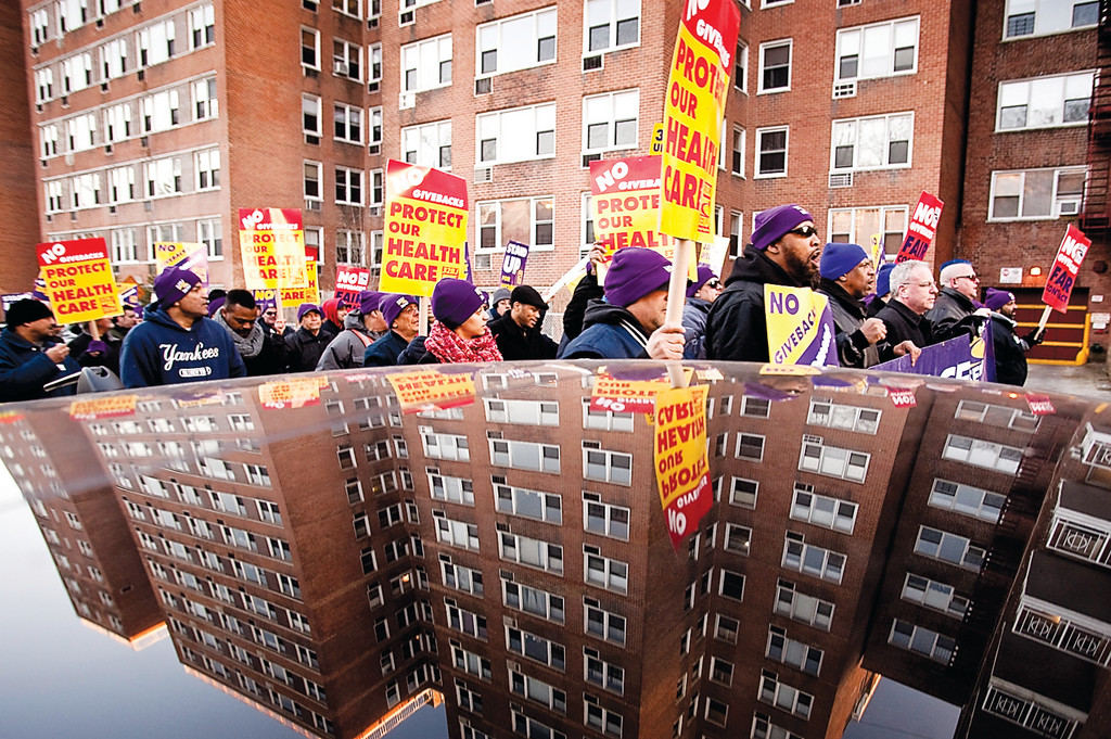 March 3, 2011 - Bronx, NY : Bronx apartment workers march down West 239th St. as they rally in Riverdale on March 3.