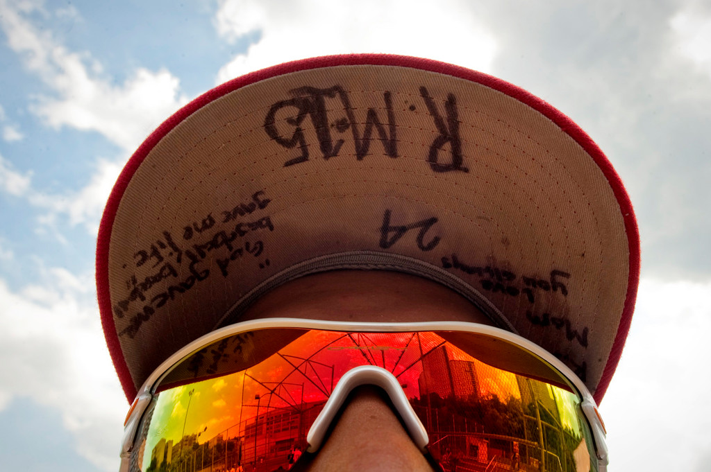 John F. Kennedy High School baseball player Pedro Taveras, photographed on May 25, wears a cap in