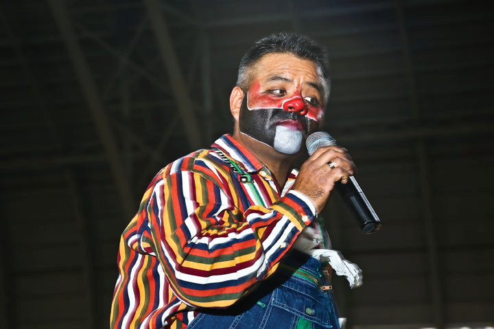 A Rodeo Clown was the master of ceremonies, making sure everyone was prepared for the next event.