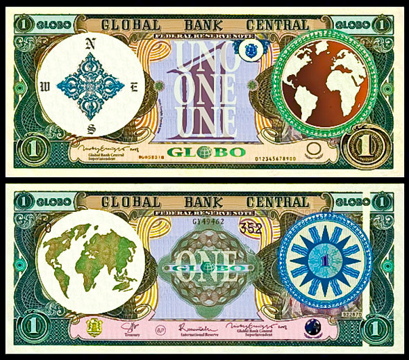 "Nicky Enright's global currency, ""globos."""