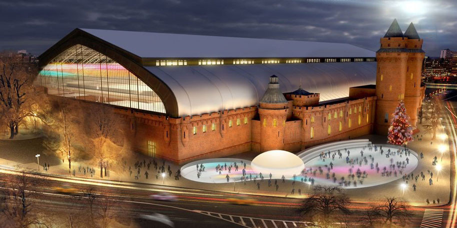 A rendering of the Kingsbridge National Ice Center.