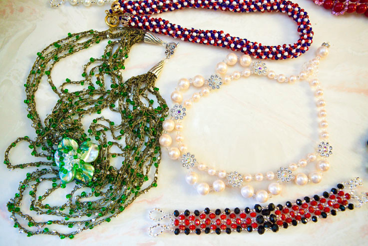 An array of beaded jewelry.