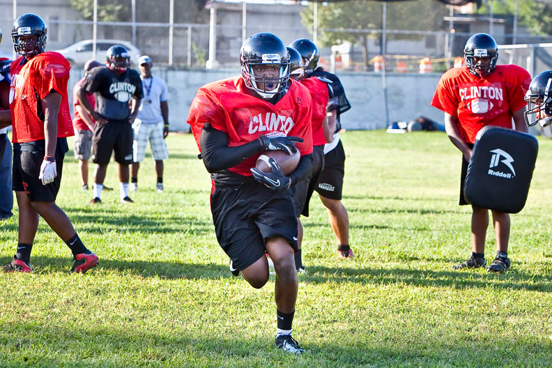 Junior full back Clive McCormack practices at DeWitt Clinton High School on Aug. 29.