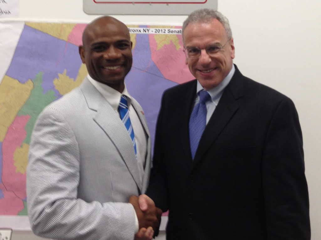 Assemblyman Jeffrey Dinowitz, right, congratulates Eddie McShan on his victory.' width='623