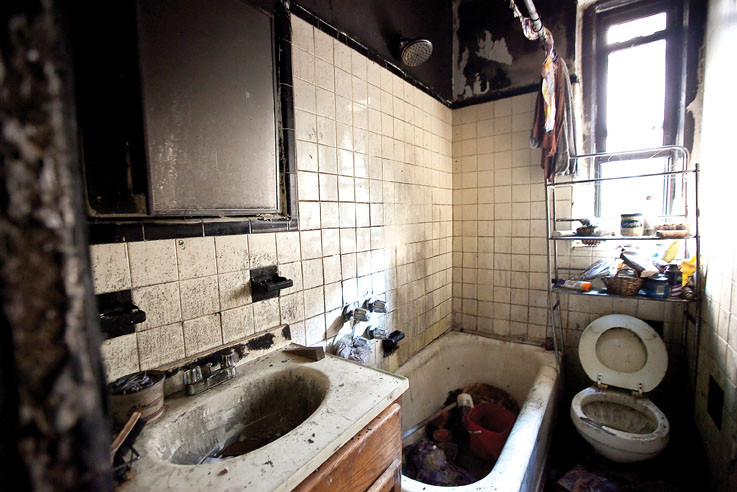 A second floor bathroom was damaged during the Sept. 12 fire at 2727 University Ave. that claimed the life of Thomas Galvin.