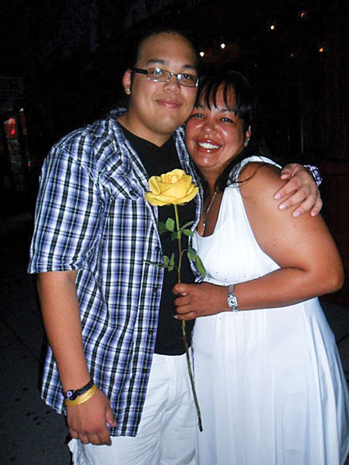 Victor Maldonado with his mom Luz De Jesus at his high school graduation, where he gave her an appreciation rose.