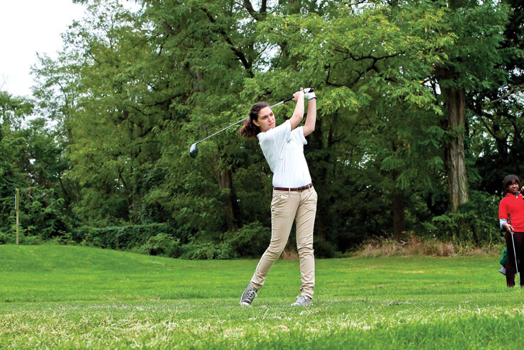 Kate Gerondianos, 16, golf's for Bronx Science at Mosholu Golf Course  on Sept. 20 against JFK.