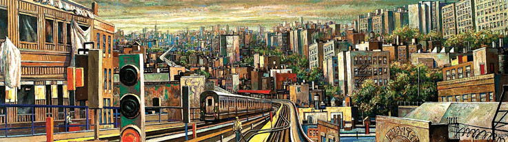Daniel Hauben's painting �Burnside Station� was installed in the Bronx Community College�s new North Hall and Library building and is among a series of paintings he was commissioned to produce for the school.