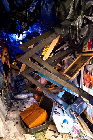 Abigail Deville's installation, 'Harlem River Blues,' made from accumulated debris, is part of Space Invaders. Detailed image.