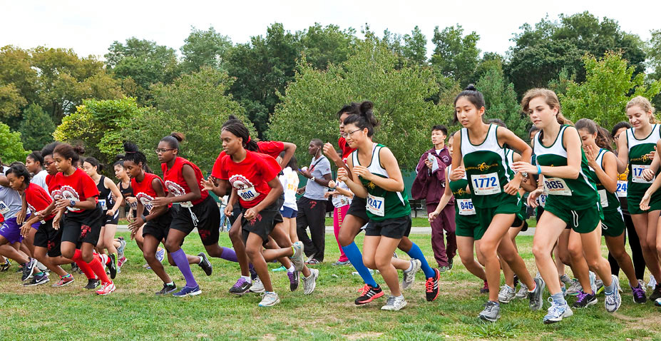 Dewitt Clinton and Bronx Science Junior Varsity girls run in the Mayor's Cup at Van Cortlandt Park on Saturday.