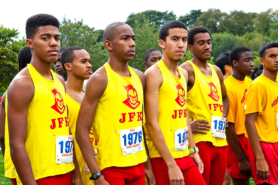 Valentine Del Orbe, Ronald Gadson, Eli Collado and Jeral Perez, from John F. Kennedy Campus' Varsity boys team, stand at the starting line for the Mayor's Cup at Van Cortlandt Park on Saturday.