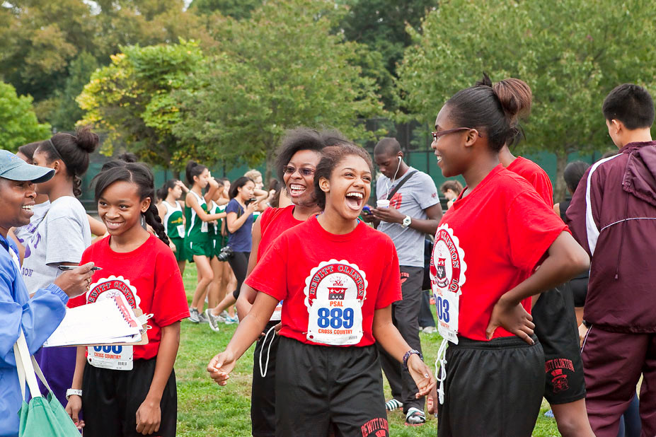 DEWITT CLINTON'S Shavon Fields, Desiree Gordon, Jhonel Barron and Betsy Alvarez are full of excitement at the starting line prior to their Mayor's Cup Junior Varsity girls race at Van Cortlandt Park on Saturday.