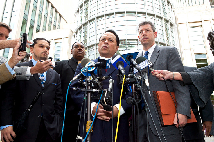 Pedro Espada speaks to reporters outside a Brooklyn federal courthouse on Oct. 12.