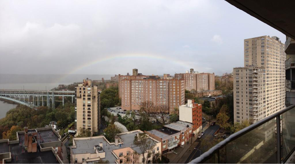 Tim Apter shared this photo of a rainbow over the Hudson River.