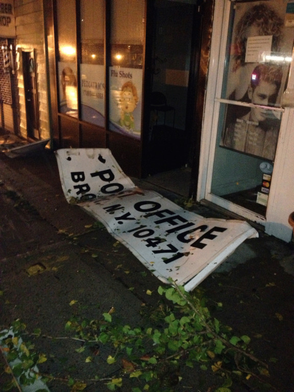 Gerry Bogacz shared this photo, taken Nov. 1, of a sign strewn across the street from the post office at 5951 Riverdale Ave.