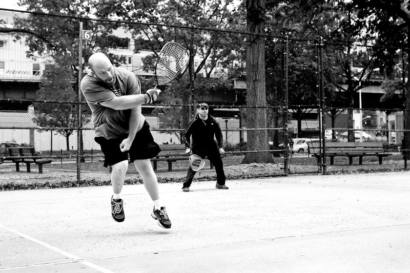 Clint Debree and Arthur Fabregas play racquetball on Oct. 2. They meet at the Van Cortlandt Park handball courts three times a week.