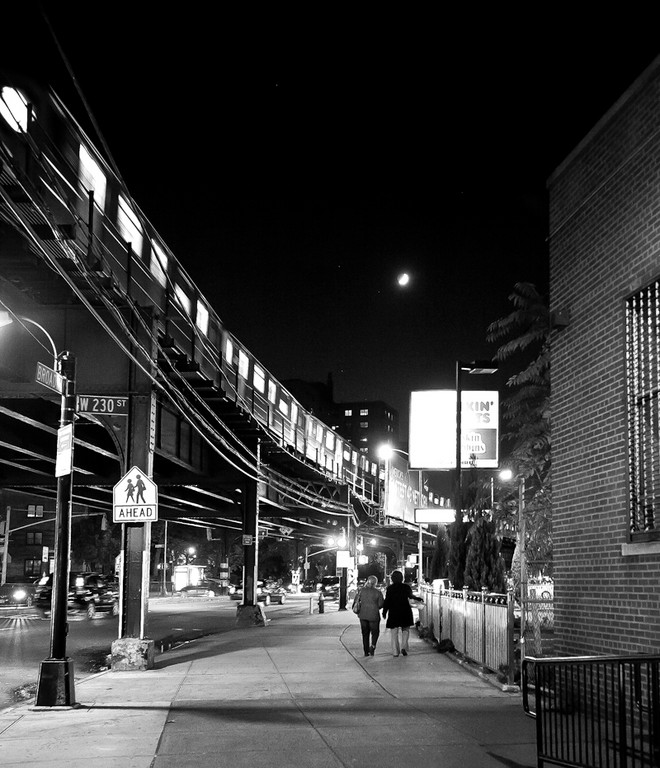 The No. 1 train glides above Broadway at West 230th Street on Oct. 20.