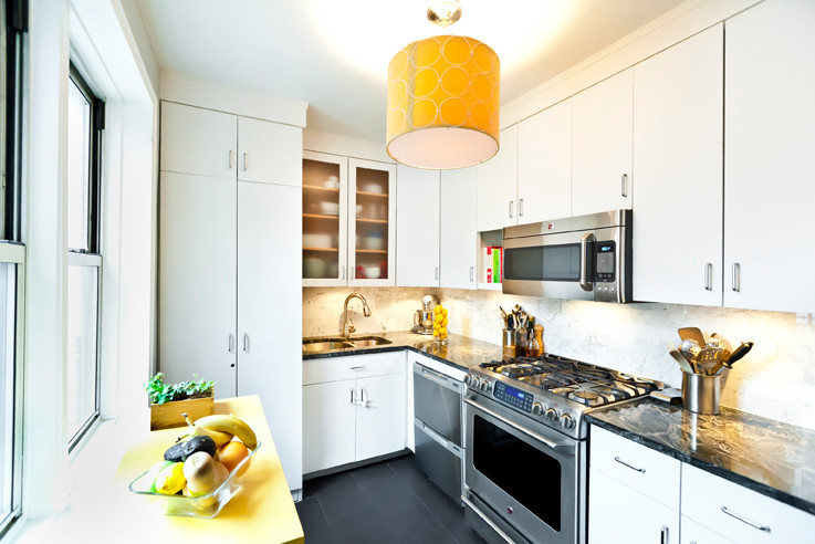 The kitchen has everything � even a washer and dryer behind closed doors.