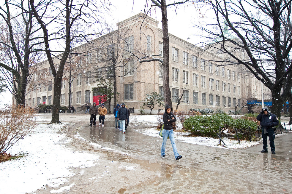 DeWitt Clinton students head home after school on Tuesday.